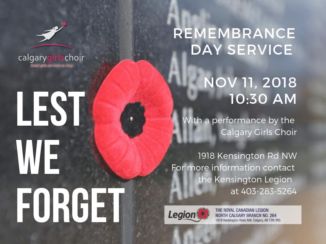 Remembrance Day Service – Calgary Girls Choir